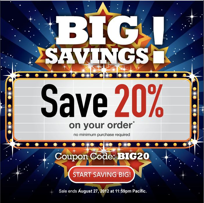 Domain.com Big20 Save 20% on your order  through August 27