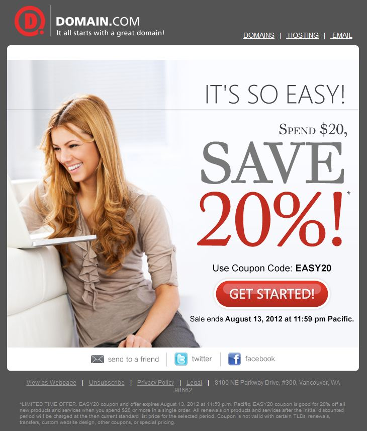 Domain.com EASY201 Save 20% When You Spend $20 at Domain.com
