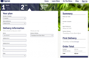 Blue Apron Order Screen