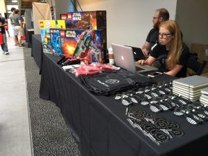 LEGO sets and swag on display at the Domain.com booth